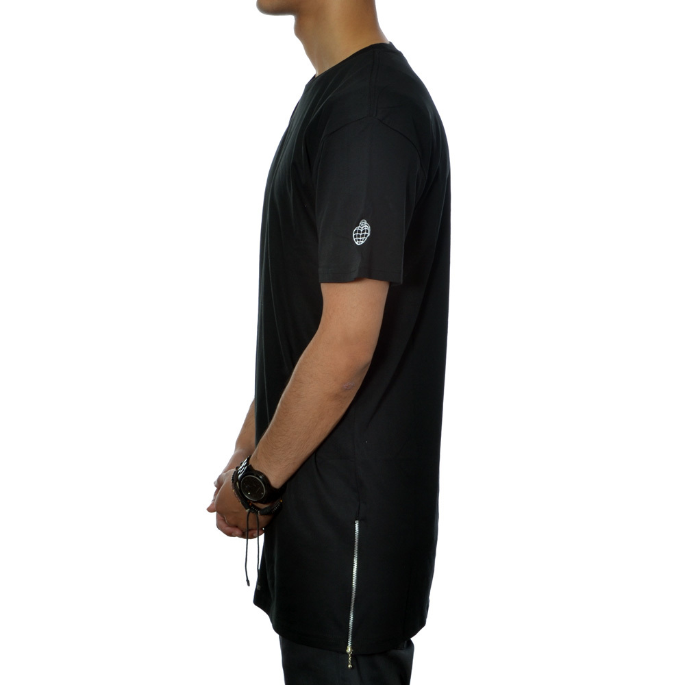 Essential tall zip tee (black)