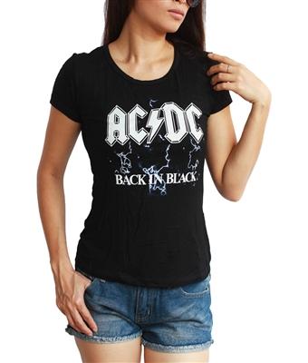 women 39 s ac dc back in black hard rock top t shirt. Black Bedroom Furniture Sets. Home Design Ideas