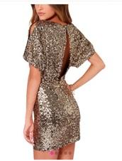 dress,gold party dress