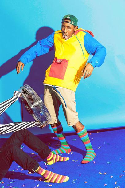 dope swag windbreaker odd future colorblock tyler the creator urban menswear colorblock jacket mens jacket