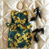 dress,sylvi label,peplum dress,baroque dress,mesh detail dress,multicolor