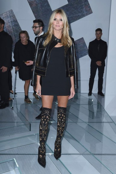 heidi klum fashion week 2014 black boots over knee high boots