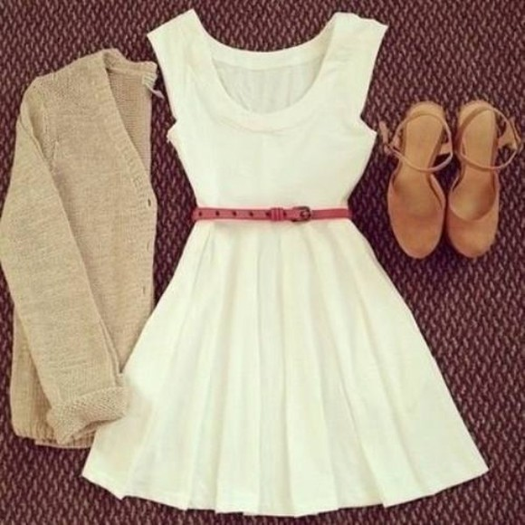 cardigan dress high heels white dress camel heels