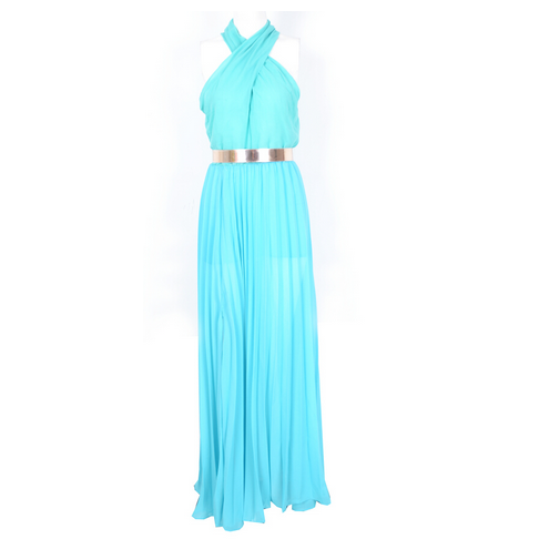 Blue Halter Maxi Dress   Gold Belt | Style Valentine