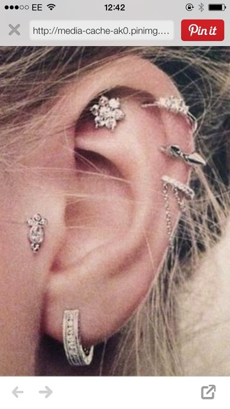 jewels ear piercings stud earrings hoop earrings diamonds style silver boho jewelry boho chic piercing coachella beautiful soft grunge
