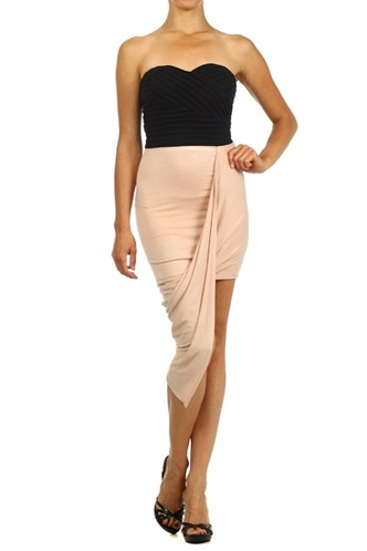 Strapless dress with asymmetric skirt