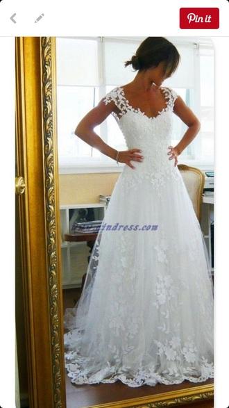 dress white wedding dress tulle flowers ell