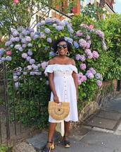 bag,dress,white dress,off the shoulder dress,sunglasses,shoes,off the shoulder
