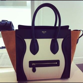 bag purse black white taupe celine céline paris celine bag neutral colourblock