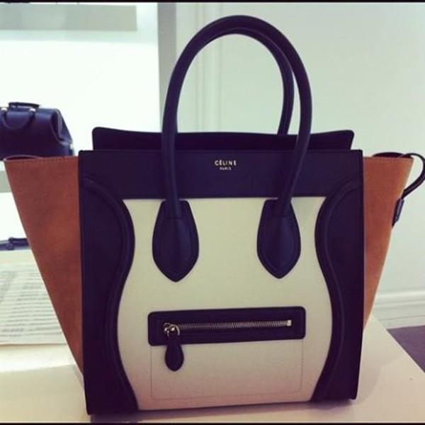 Bag: purse, black, white, taupe, celine, celine bag, neutral ...