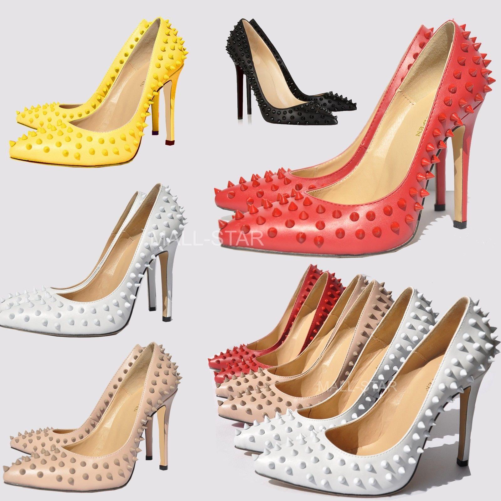 High Heel Pointed Corset Style Work Pumps Court Shoes Rivets Studs Matt US T302   eBay