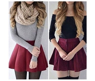 sweater fall outfits fall sweater skirt scarf tights red skirt grey sweater black top