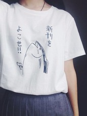 t-shirt,fish,japanese,tumblr,pale,palewave,seapunk,aesthetic,kawaii,shirt,white,blue