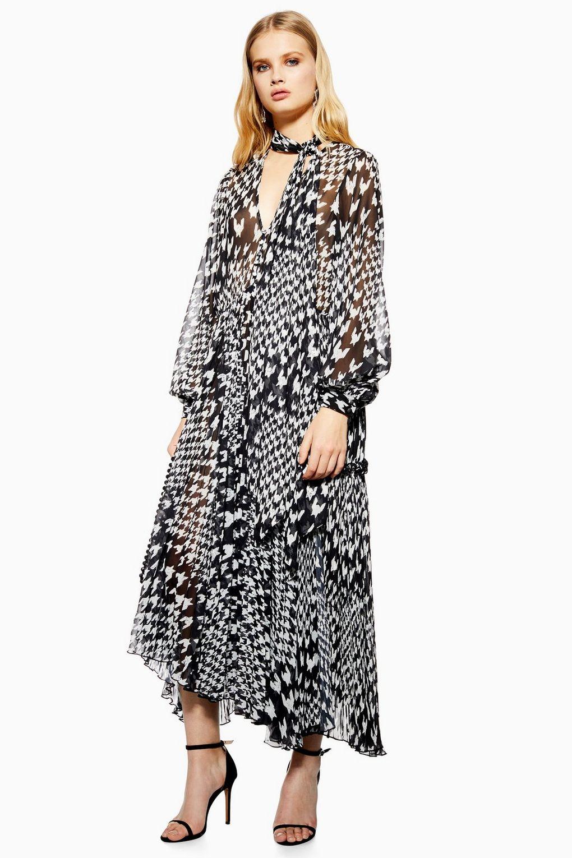 122b8b680d Houndstooth Pleat Midi Skater Dress - Dresses - Clothing
