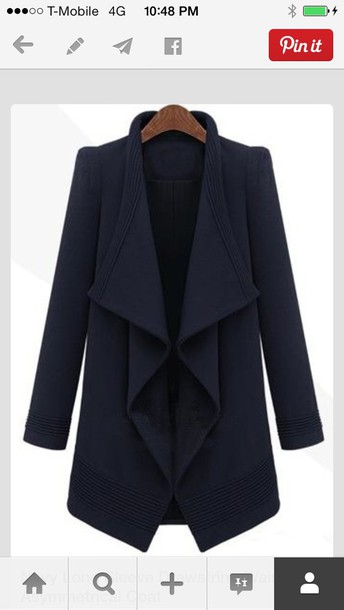 jacket structured wool coat warerfallb wool coat waterfall blazer waterfall