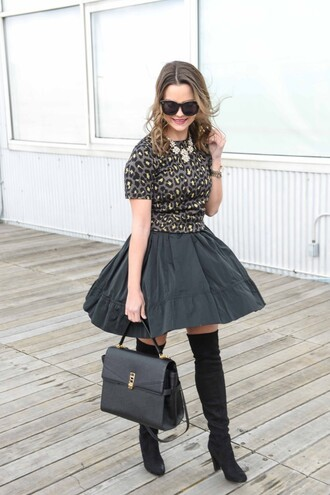 knee high boots black leather bag live more beautifully blogger sunglasses animal print mini skirt