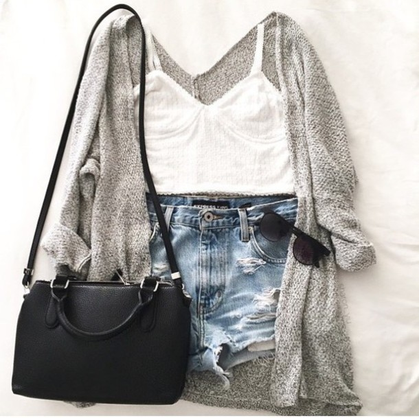 3db1c3fa2f5c top summer outfits outfit summer tumblr denim shorts cute spring cardigan  grey cardigan summer outfits high