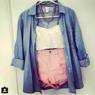 blouse high waisted shorts demin jacket bustier gold chain