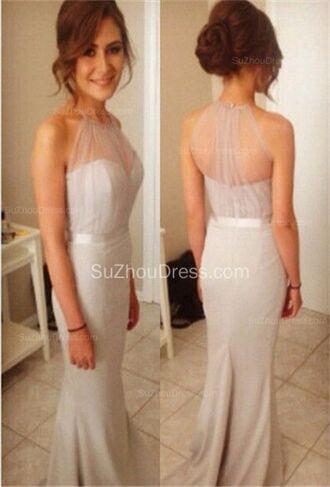 dress prom sheer halter neck grey mermaid prom dress long dress sweetheart neckline