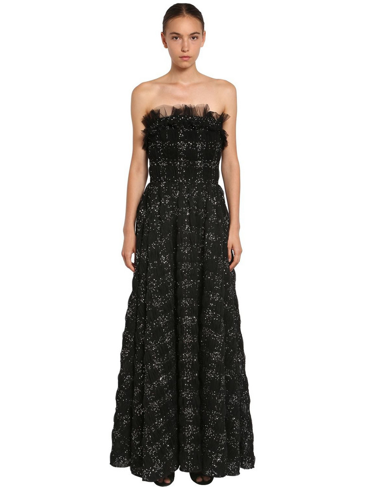 INGIE PARIS Sequined Tulle Long Dress in black