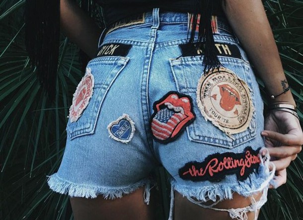 shorts the rolling stones denim blue lifestyle denim shorts High waisted shorts jeans short blue jeans badge short dress cut off shorts summer shorts band t-shirt band merch