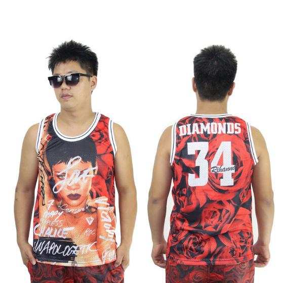 Rihanna diamonds 3d floral print vest