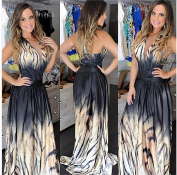 7155c1203d5 dress clubwear floor length dress black dress ombre tie dye halter neck  halter dress casual casual