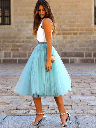 skirt petticoat blue tule blogger clothes celeb sex and the city love carrie bradshaw