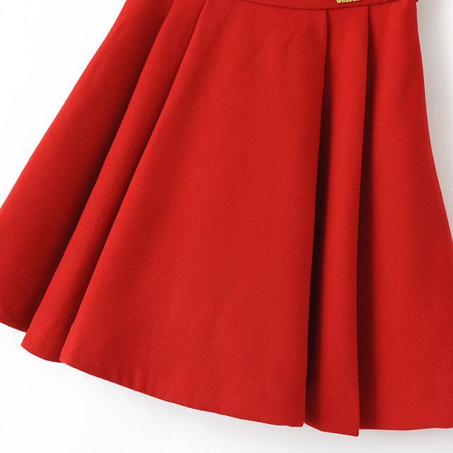 Red zipper woolen skirt