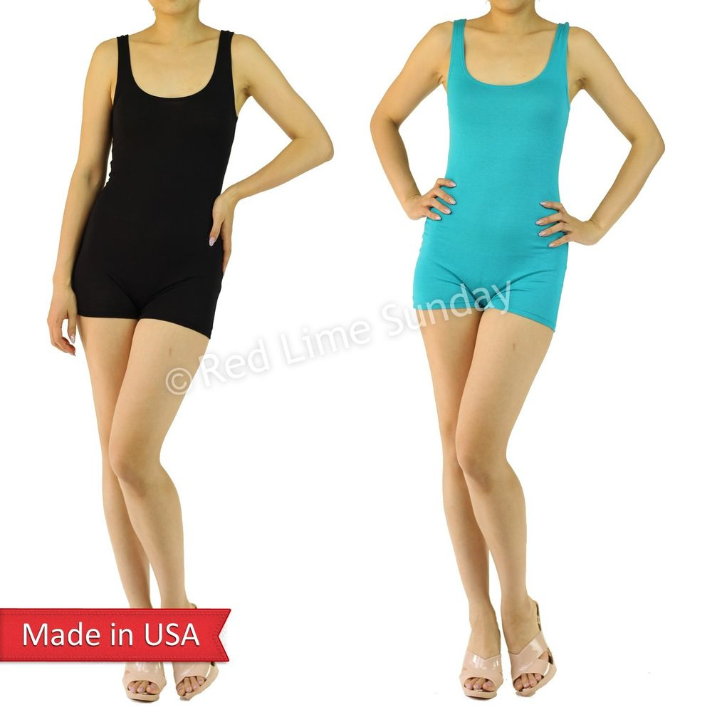 Lightweight Black Turquoise Solid Color Tank Open Back Mini Romper Shorts Pants