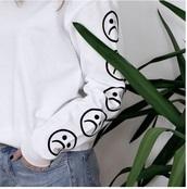blouse,tumblr,white,white top,white t-shirt,long sleeves,aesthetic