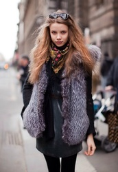 coat,fur,faux fur,faux,vest,grey fur vest,grey dress,dress,mini dress,tight,opaque tights,tights,scarf,sunglasses