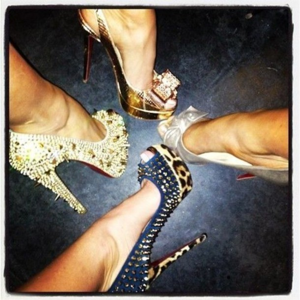 shoes high heels sparkle spikes leapord