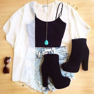 blouse cardigan shoes shorts sunglasses jewels jewelry necklace turquoise black heels black top