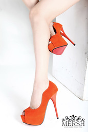 shoes,orange,finsh mouth,high heels