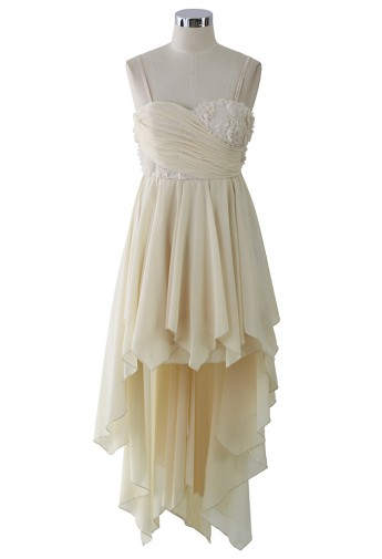 Cream 3D Flower Asymmetric Waterfall Prom Dress  - Retro, Indie and Unique Fashion