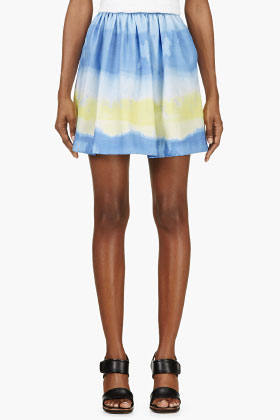 Msgm Yellow & Blue Tie-dye Skirt for women | SSENSE