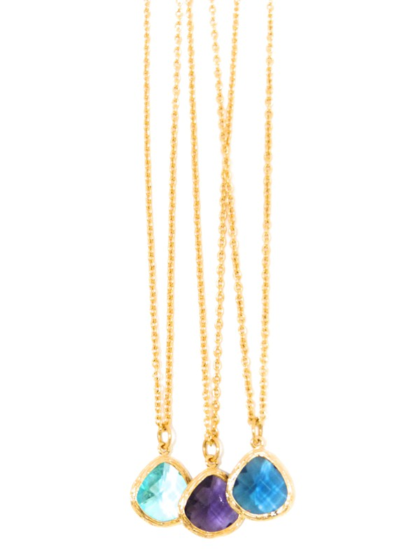jewels necklace gold necklace chain purple crystal gold necklace aqua necklace