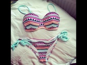 swimwear,chevron,cute,pink,whote,white,black,turquoise,beach,sexy,fashionista,stylish,two-piece,two piece bathing suit,bikini,navy,summer,aztec,orange