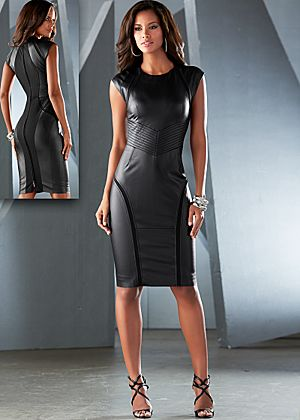 PC% Faux leather sheath dress from VENUS