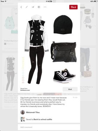 jacket black white varsity beanie shoes purse