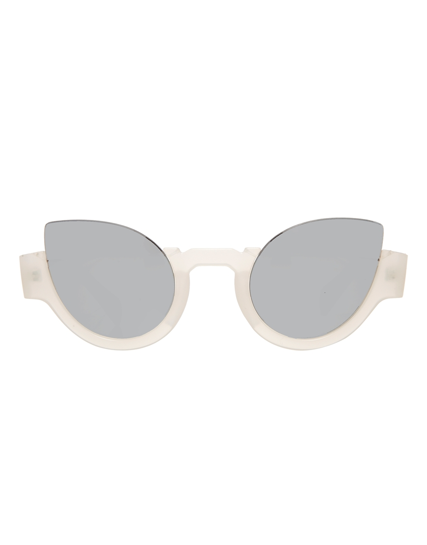 ASOS Half Frame Cat Eye Sunglasses With Mirrored Lens at asos.com