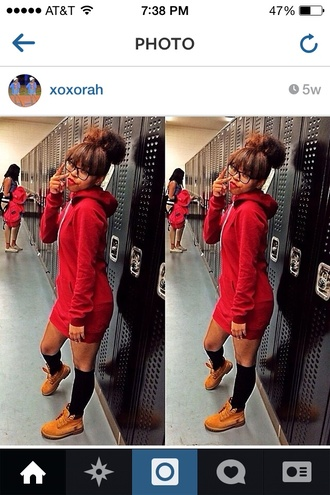 stylish hoodie knee high socks cute bun red skirt red skirt timberland