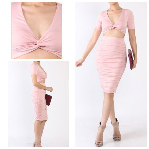 dress pink dress two-piece pink skirt skirt crop tops clubwear spring outfits trendy sexy dress bodycon dress