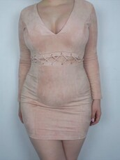 dress,lace up,velvet,curvy,v neck,beige,nude,short