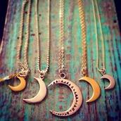 jewels,lunar,luna,moon,bronze,astral,crescent moon,crescent moon necklace,moon necklace