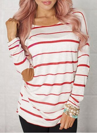 sweater red white fashion style stripes long top stylish cool casual chic scoop neck striped elbow spliced long sleeve t-shirt for women fall outfits
