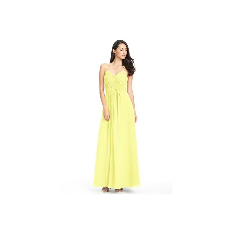 Daffodil Azazie Haleigh - Floor Length Keyhole V Neck Chiffon Dress - Charming Bridesmaids Store
