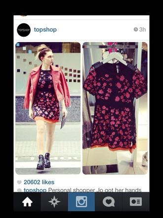dress topshop dress topshop skirt flower dress cute floral summer red pink dress india love