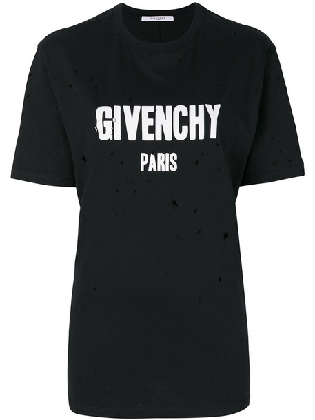 Givenchy t-shirt shirt t-shirt women cotton print black top